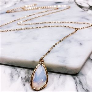 "14K Rose Gold Moonstone Lariat Necklace 18"" BTQ06"